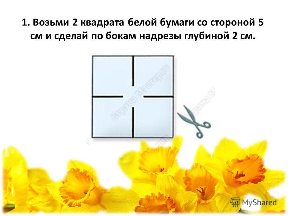 1. Возьми 2 квадрата белой бумаги со стороной 5 см и сделай по бокам надрезы глубиной 2 см.
