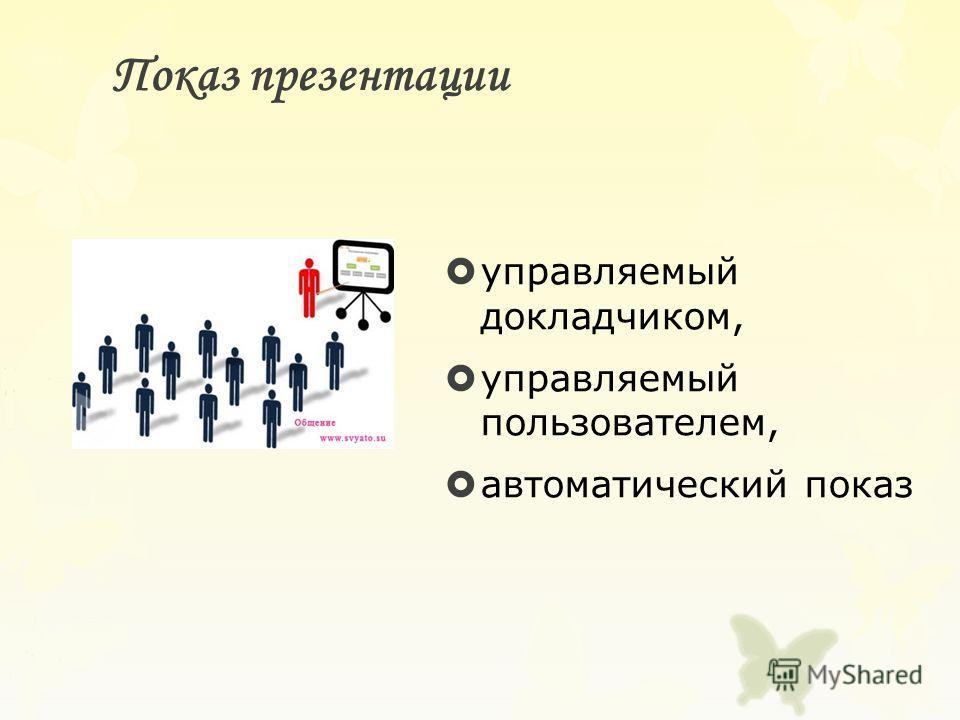Показ презентации управляемый докладчиком, управляемый пользователем, автоматический показ