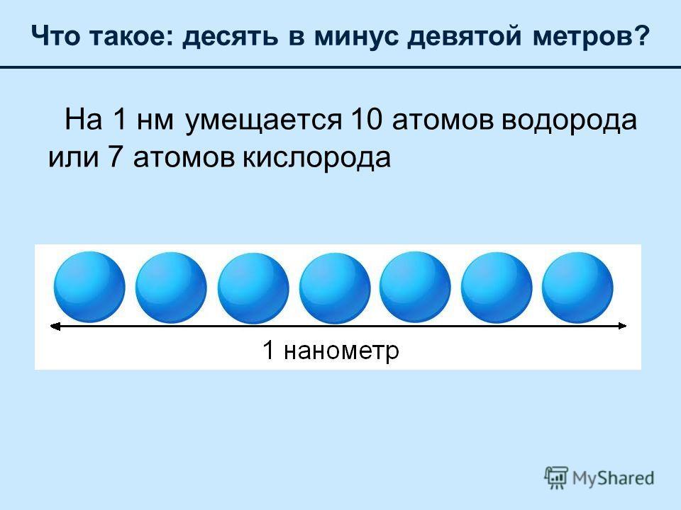 На 1 нм умещается 10 атомов водорода или 7 атомов кислорода Что такое: десять в минус девятой метров?