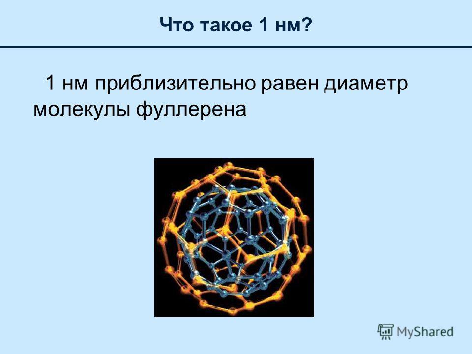1 нм приблизительно равен диаметр молекулы фуллерена Что такое 1 нм?