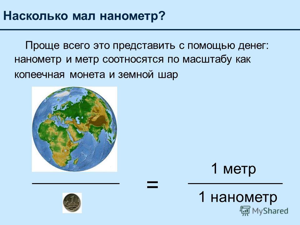 Проще всего это представить с помощью денег: нанометр и метр соотносятся по масштабу как копеечная монета и земной шар Насколько мал нанометр? 1 метр = 1 нанометр