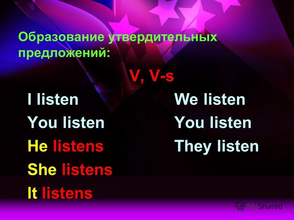 Образование утвердительных предложений: V, V-s I listenWe listenYou listen He listensThey listen She listens It listens