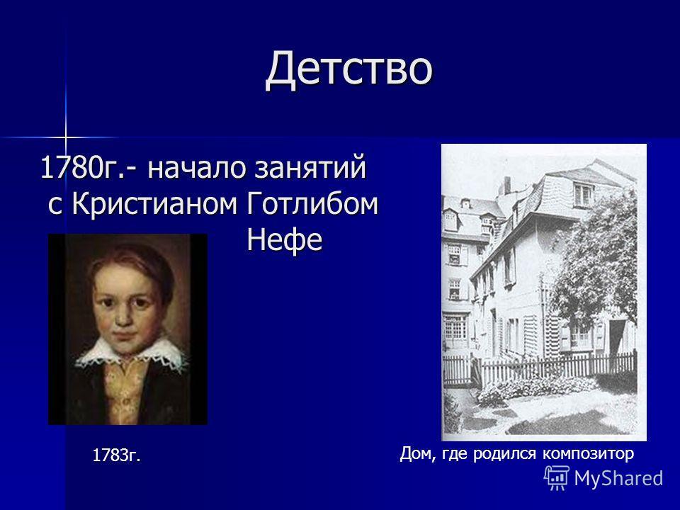 Детство 1780г.- начало занятий с Кристианом Готлибом Нефе Детство 1780г.- начало занятий с Кристианом Готлибом Нефе Дом, где родился композитор 1783г.