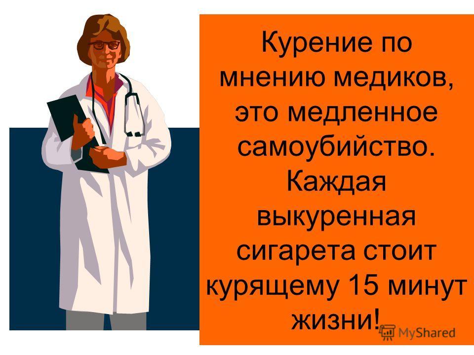 Курение по мнению медиков, это медленное самоубийство. Каждая выкуренная сигарета стоит курящему 15 минут жизни!