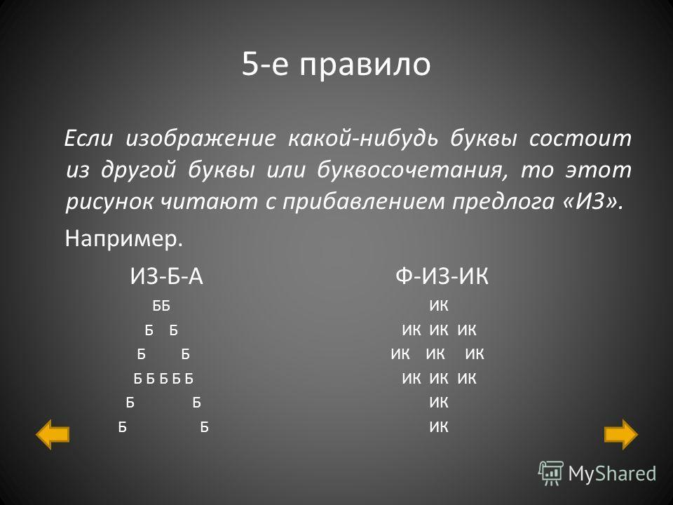 5-е правило Если изображение какой-нибудь буквы состоит из другой буквы или буквосочетания, то этот рисунок читают с прибавлением предлога «ИЗ». Например. ИЗ-Б-А Ф-ИЗ-ИК ББ ИК Б Б ИК ИК ИК Б Б Б Б Б ИК ИК ИК Б Б ИК