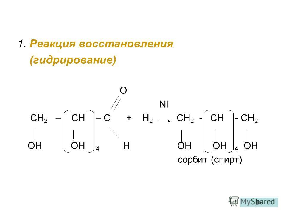 1. Реакция восстановления (гидрирование) О Ni СН 2 – СН – С + Н 2 СН 2 - СН - СН 2 ОН ОН 4 Н ОН ОН 4 ОН сорбит (спирт)