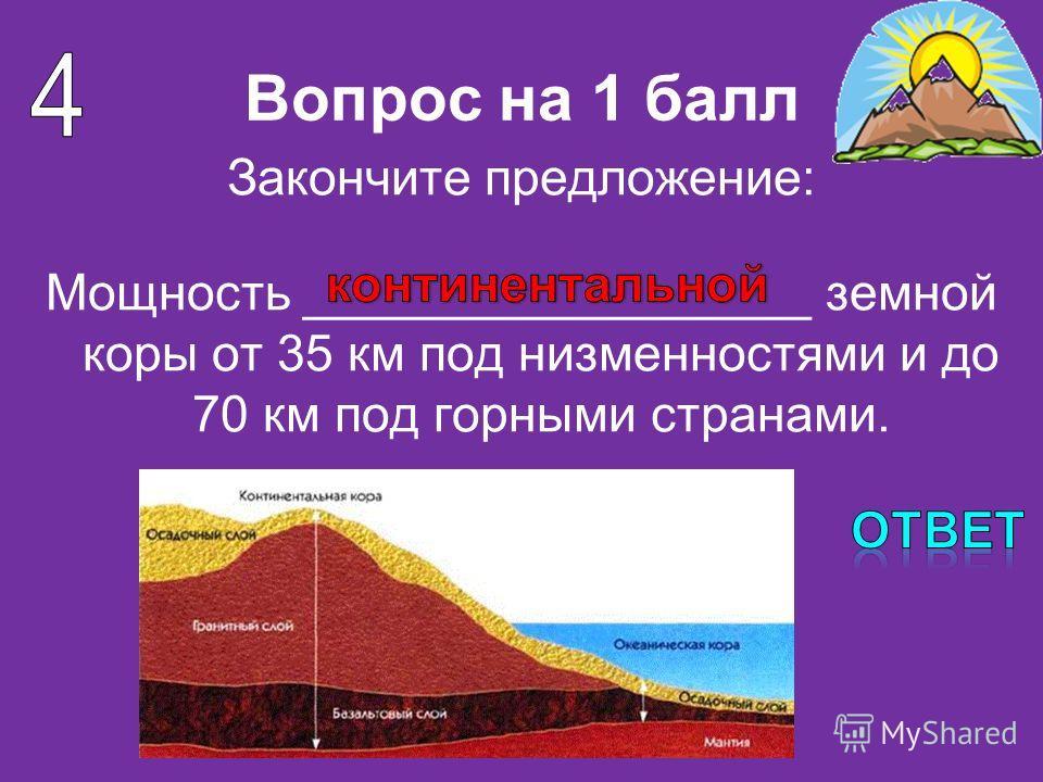 Вопрос на 1 балл Закончите предложение: Мощность __________________ земной коры от 35 км под низменностями и до 70 км под горными странами.