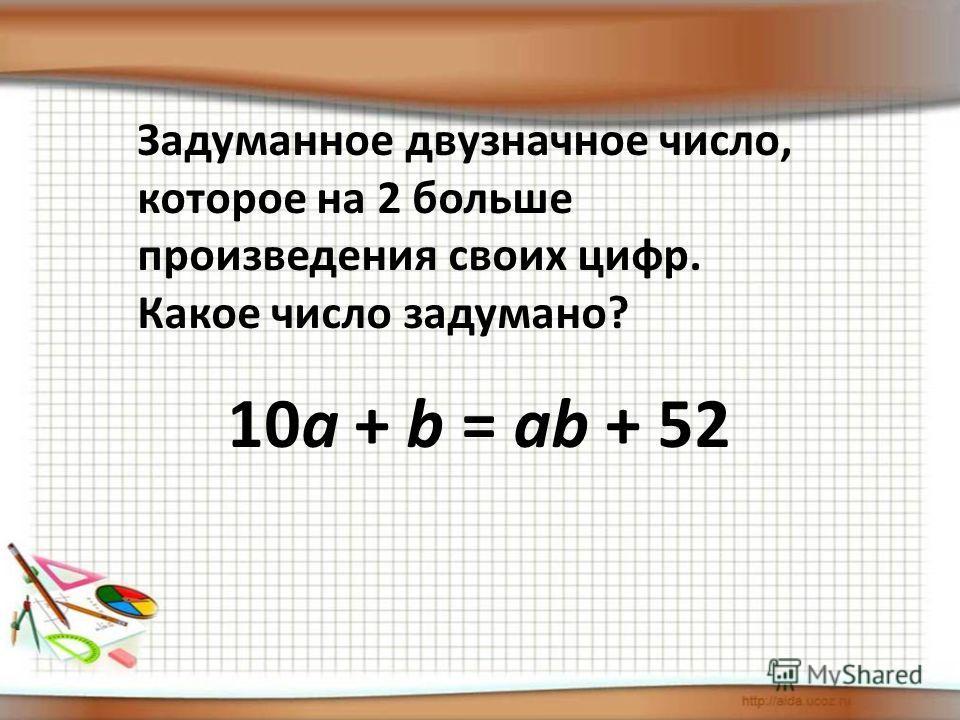 Задуманное двузначное число, которое на 2 больше произведения своих цифр. Какое число задумано? 10a + b = ab + 52