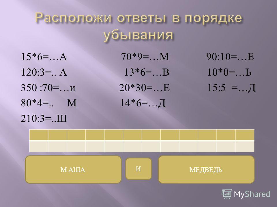 15*6=… А 70*9=… М 90:10=… Е 120:3=.. А 13*6=… В 10*0=… Ь 350 :70=… и 20*30=… Е 15:5 =… Д 80*4=.. М 14*6=… Д 210:3=.. Ш М АШАМЕДВЕДЬ И