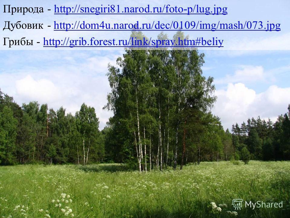 Природа - http://snegiri81.narod.ru/foto-p/lug.jpghttp://snegiri81.narod.ru/foto-p/lug.jpg Дубовик - http://dom4u.narod.ru/dec/0109/img/mash/073.jpghttp://dom4u.narod.ru/dec/0109/img/mash/073.jpg Грибы - http://grib.forest.ru/link/sprav.htm#beliyhttp