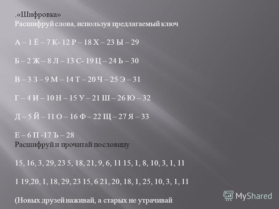.« Шифровка » Расшифруй слова, используя предлагаемый ключ А – 1 Ё – 7 К - 12 Р – 18 Х – 23 Ы – 29 Б – 2 Ж – 8 Л – 13 С - 19 Ц – 24 Ь – 30 В – 3 З – 9 М – 14 Т – 20 Ч – 25 Э – 31 Г – 4 И – 10 Н – 15 У – 21 Ш – 26 Ю – 32 Д – 5 Й – 11 О – 16 Ф – 22 Щ –