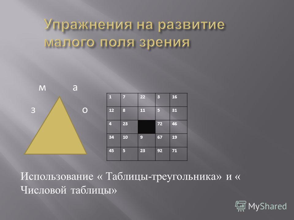 1 722316 12 811531 4 23 7246 34 1096719 45 5239271 м а з о Использование « Таблицы - треугольника » и « Числовой таблицы »