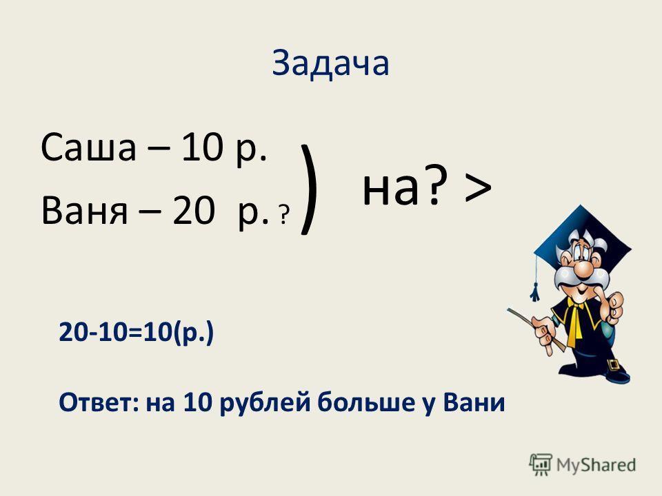 Задача Саша – 10 р. Ваня – 20 р. ? ͝ на? > 20-10=10(р.) Ответ: на 10 рублей больше у Вани