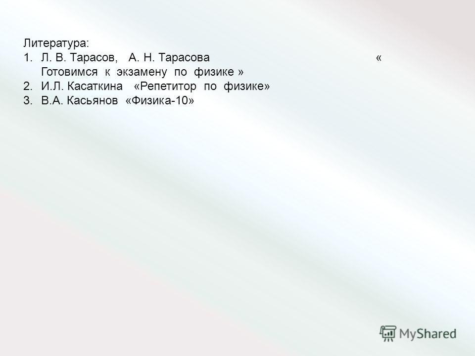 Литература: 1.Л. В. Тарасов, А. Н. Тарасова « Готовимся к экзамену по физике » 2.И.Л. Касаткина «Репетитор по физике» 3.В.А. Касьянов «Физика-10»