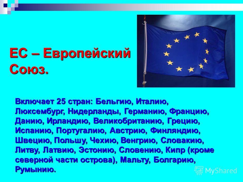 ЕС – Европейский Союз. Включает 25 стран: Бельгию, Италию, Люксембург, Нидерланды, Германию, Францию, Данию, Ирландию, Великобританию, Грецию, Испанию, Португалию, Австрию, Финляндию, Швецию, Польшу, Чехию, Венгрию, Словакию, Литву, Латвию, Эстонию,