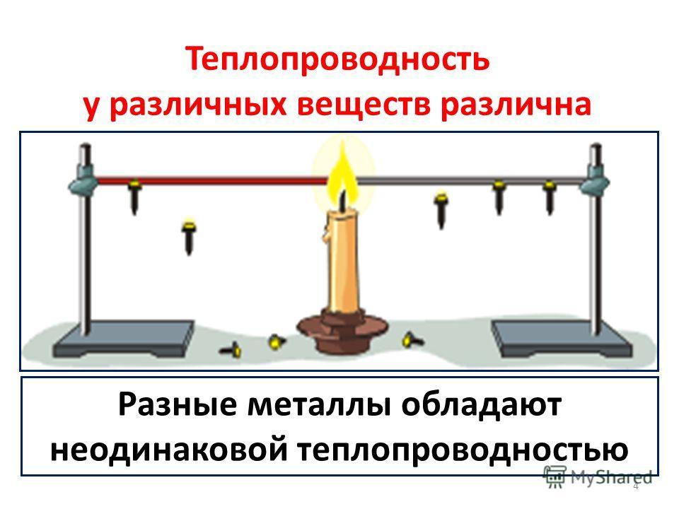 Теплопроводность у различных веществ различна Разные металлы обладают неодинаковой теплопроводностью 4