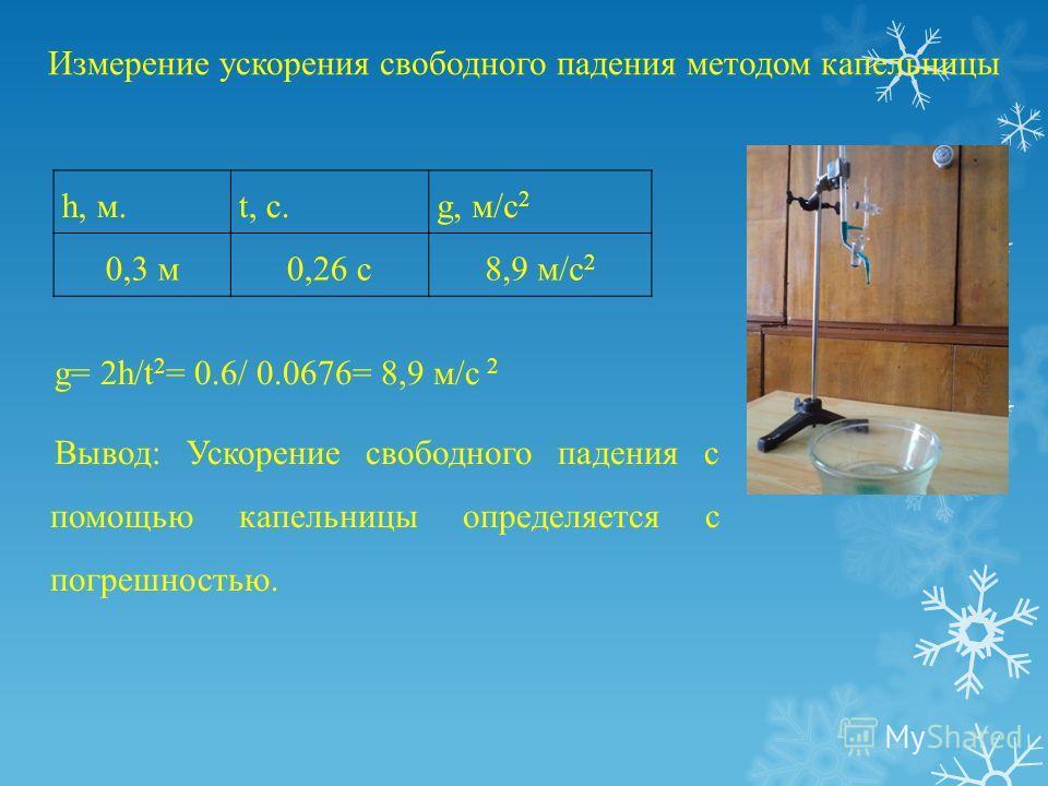 Измерение ускорения свободного падения методом капельницы g= 2h/t 2 = 0.6/ 0.0676= 8,9 м/с 2 Вывод: Ускорение свободного падения с помощью капельницы определяется с погрешностью. h, м.t, c.g, м/с 2 0,3 м0,26 с8,9 м/с 2