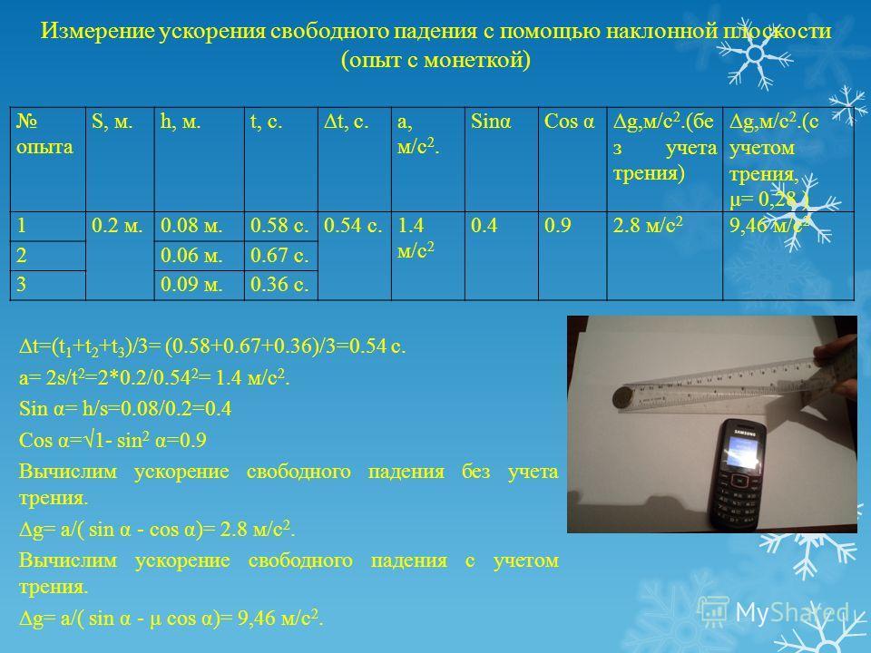 Измерение ускорения свободного падения с помощью наклонной плоскости (опыт с монеткой) t=(t 1 +t 2 +t 3 )/3= (0.58+0.67+0.36)/3=0.54 c. a= 2s/t 2 =2*0.2/0.54 2 = 1.4 м/с 2. Sin α= h/s=0.08/0.2=0.4 Cos α=1- sin 2 α=0.9 Вычислим ускорение свободного па