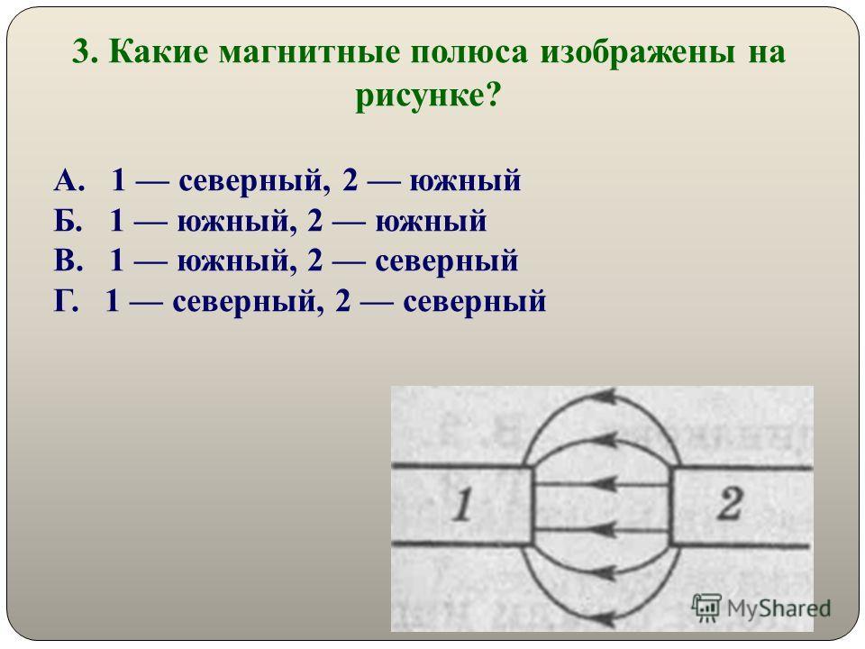 3. Какие магнитные полюса изображены на рисунке? А. 1 северный, 2 южный Б. 1 южный, 2 южный В. 1 южный, 2 северный Г. 1 северный, 2 северный