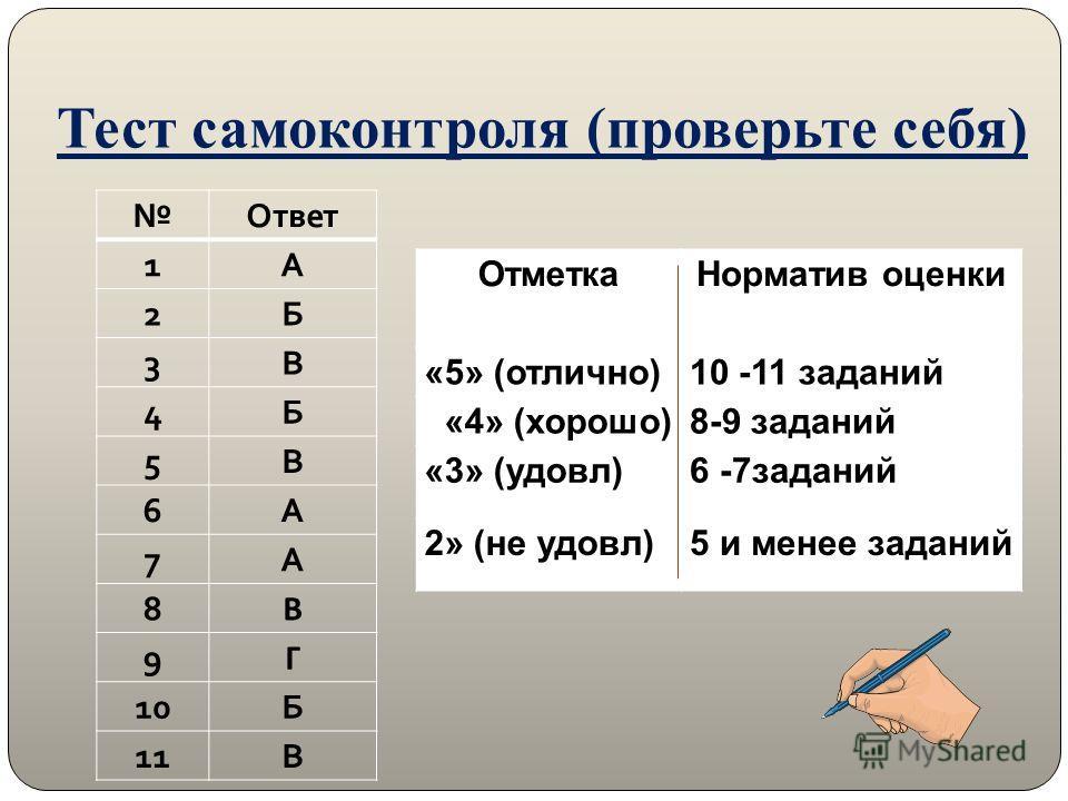 Тест самоконтроля (проверьте себя) Ответ 1А 2Б 3В 4Б 5В 6А 7А 8 В 9 Г 10Б 11В Отметка Норматив оценки «5» (отлично)10 -11 заданий «4» (хорошо)8-9 заданий «3» (удовл)6 -7заданий 2» (не удовл)5 и менее заданий