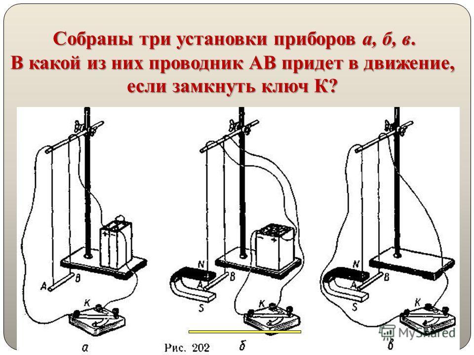 28 Собраны три установки приборов а, б, в. В какой из них проводник АВ придет в движение, если замкнуть ключ К?