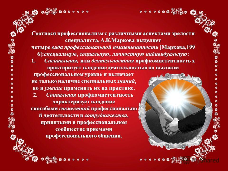 Соотнося профессионализм с различными аспектами зрелости специалиста, А.К.Маркова выделяет четыре вида профессиональной компетентности [Маркова,199 6]:специальную, социальную, личностную индивидуальную: 1. Специальная, или деятельностная профкомпетен