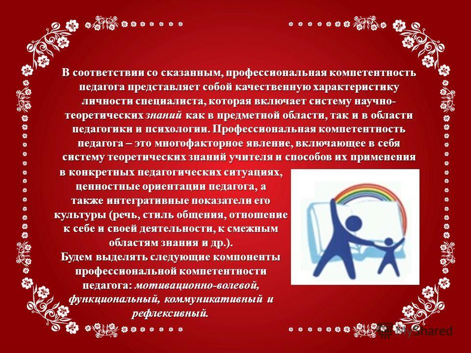 В соответствии со сказанным, профессиональная компетентность педагога представляет собой качественную характеристику личности специалиста, которая включает систему научно- теоретических знаний как в предметной области, так и в области педагогики и пс