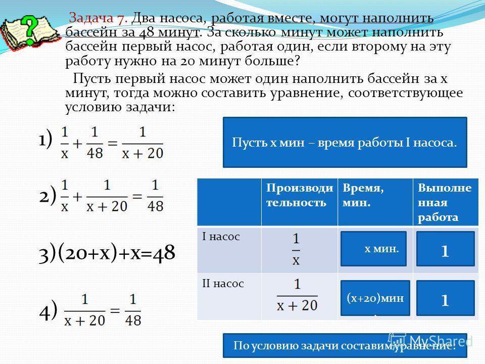 1) 2) 3)(20+х)+х=48 4) Задача 7. Два насоса, работая вместе, могут наполнить бассейн за 48 минут. За сколько минут может наполнить бассейн первый насос, работая один, если второму на эту работу нужно на 20 минут больше? Пусть первый насос может один