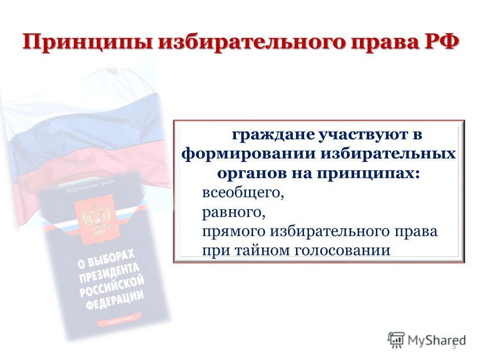 Принципы избирательного права РФ граждане участвуют в формировании избирательных органов на принципах: всеобщего, равного, прямого избирательного права при тайном голосовании 5