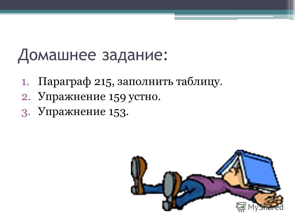 Домашнее задание: 1.Параграф 215, заполнить таблицу. 2.Упражнение 159 устно. 3.Упражнение 153.
