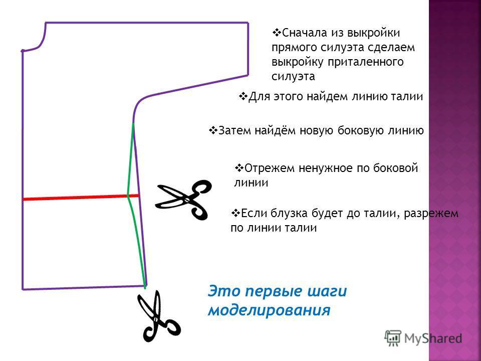 Сначала из выкройки прямого силуэта сделаем выкройку приталенного силуэта Для этого найдем линию талии Затем найдём новую боковую линию Отрежем ненужное по боковой линии Если блузка будет до талии, разрежем по линии талии Это первые шаги моделировани