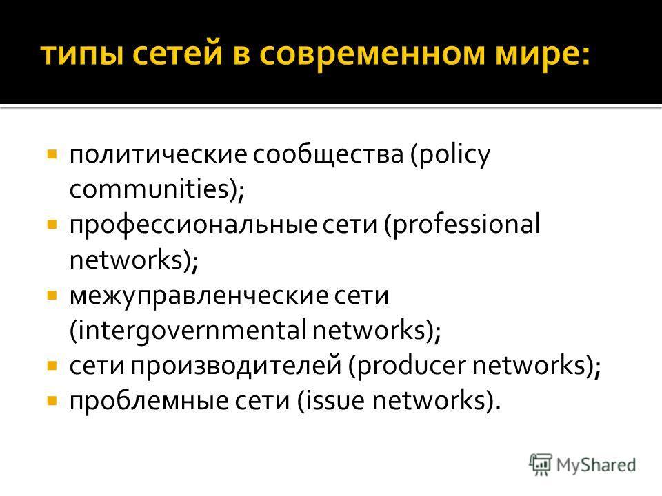 политические сообщества (policy communities); профессиональные сети (professional networks); межуправленческие сети (intergovernmental networks); сети производителей (producer networks); проблемные сети (issue networks).