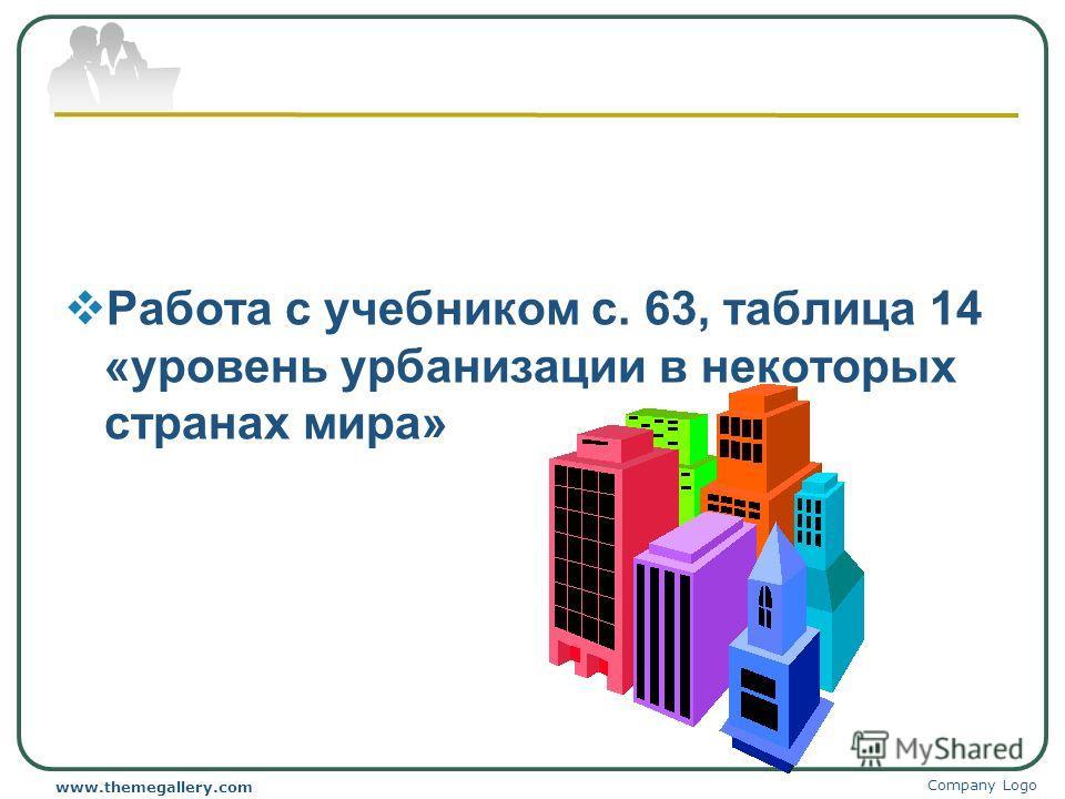 Работа с учебником с. 63, таблица 14 «уровень урбанизации в некоторых странах мира» Company Logo www.themegallery.com