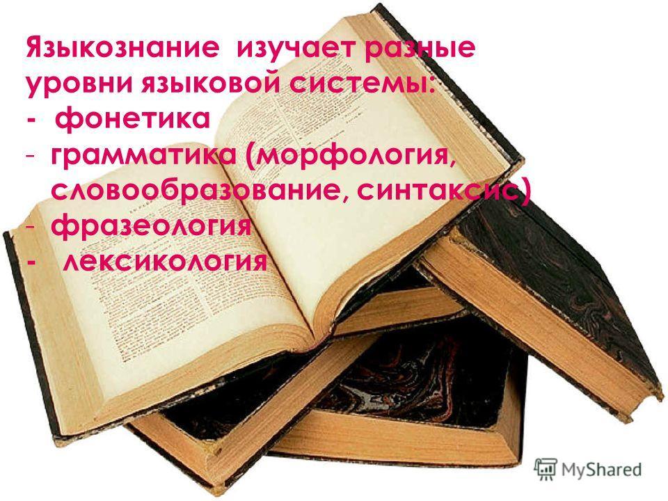 Языкознание изучает разные уровни языковой системы: - фонетика - грамматика (морфология, словообразование, синтаксис) - фразеология - лексикология
