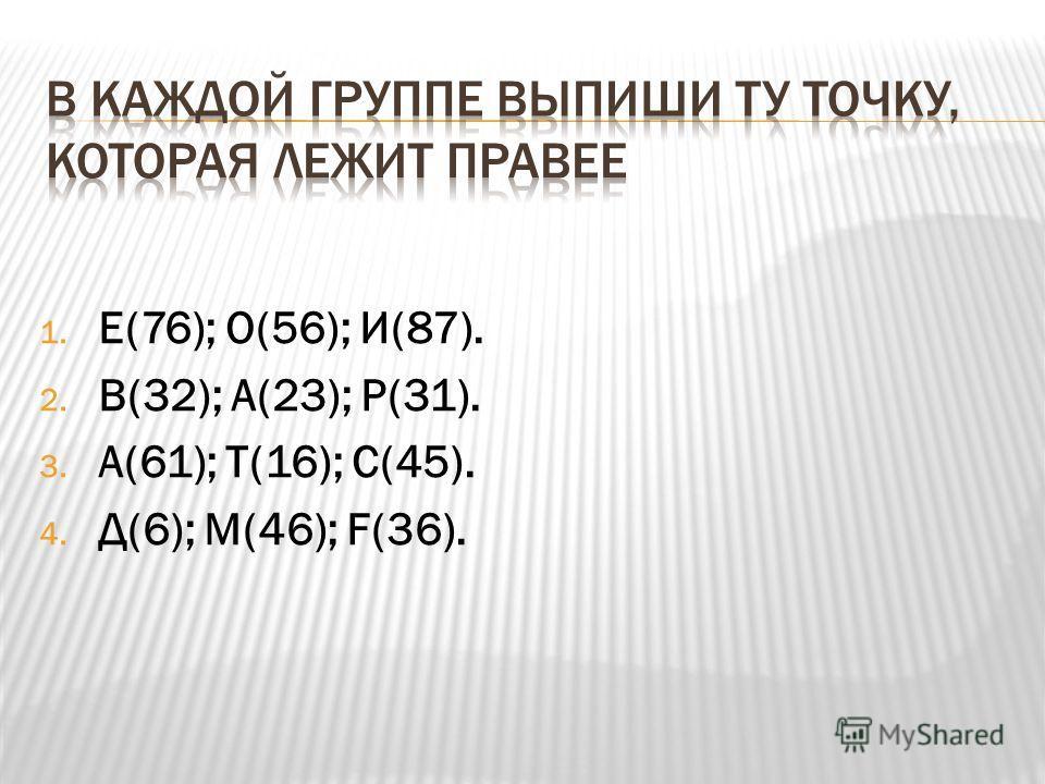 1. Е(76); О(56); И(87). 2. В(32); А(23); Р(31). 3. А(61); Т(16); С(45). 4. Д(6); М(46); F(36).