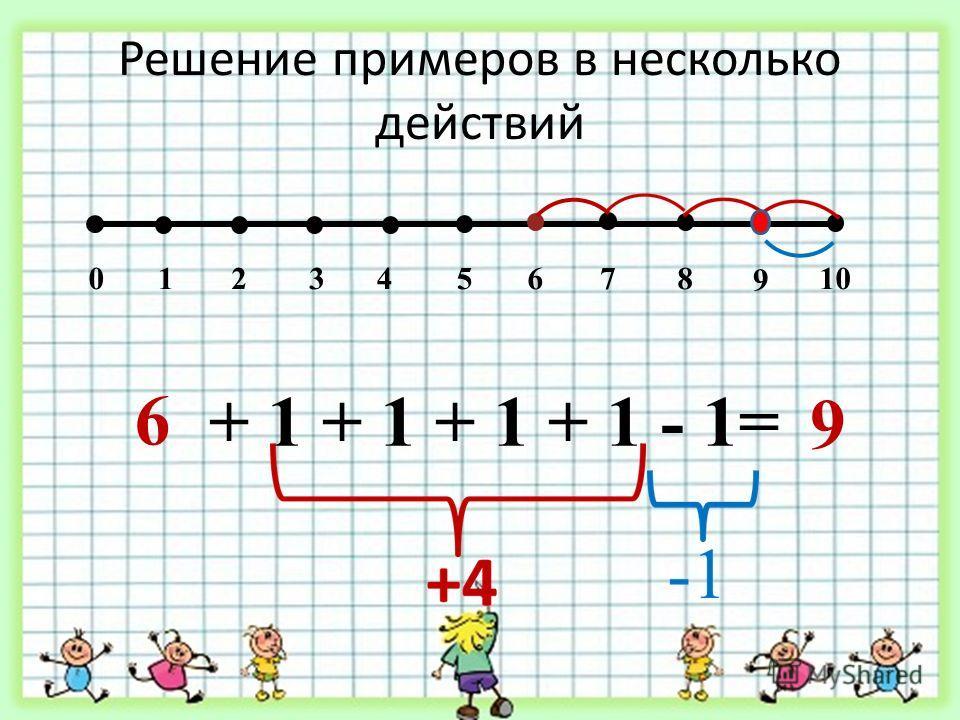 Решение примеров в несколько действий 012345678 9 10 6 + 1 + 1 + 1 + 1 - 1= 9