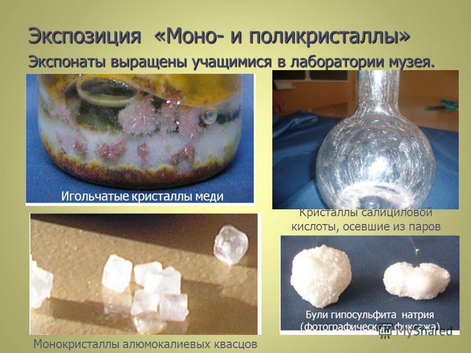 Экспозиция «Моно- и поликристаллы» Экспонаты выращены учащимися в лаборатории музея. Кристаллы салициловой кислоты, осевшие из паров Монокристаллы алюмокалиевых квасцов