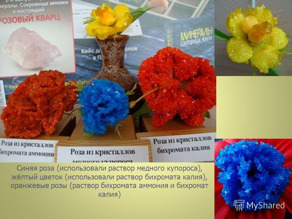 Синяя роза (использовали раствор медного купороса), жёлтый цветок (использовали раствор бихромата калия), оранжевые розы (раствор бихромата аммония и бихромат калия)