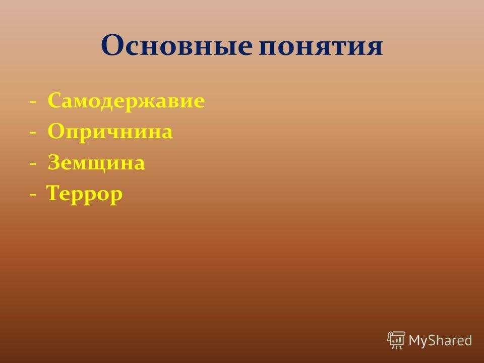 Основные понятия -Самодержавие -Опричнина -Земщина -Террор