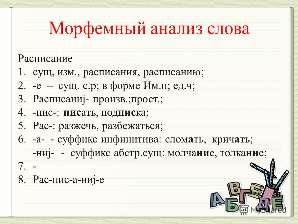 Расписание 1.сущ, изм., расписания, расписанию; 2.-е – сущ. с.р; в форме Им.п; ед.ч; 3.Расписаниj- произв.;прост.; 4.-пис-: писать, подписка; 5.Рас-: разжечь, разбежаться; 6.-а- - суффикс инфинитива: сломать, кричать; -ниj- - суффикс абстр.сущ: молча