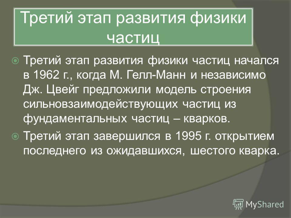 Третий этап развития физики частиц Третий этап развития физики частиц начался в 1962 г., когда М. Гелл-Манн и независимо Дж. Цвейг предложили модель строения сильновзаимодействующих частиц из фундаментальных частиц – кварков. Третий этап завершился в