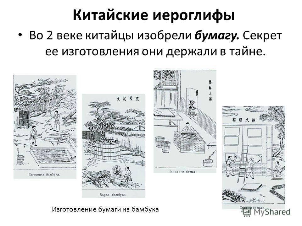 Китайские иероглифы Во 2 веке китайцы изобрели бумагу. Секрет ее изготовления они держали в тайне. Изготовление бумаги из бамбука