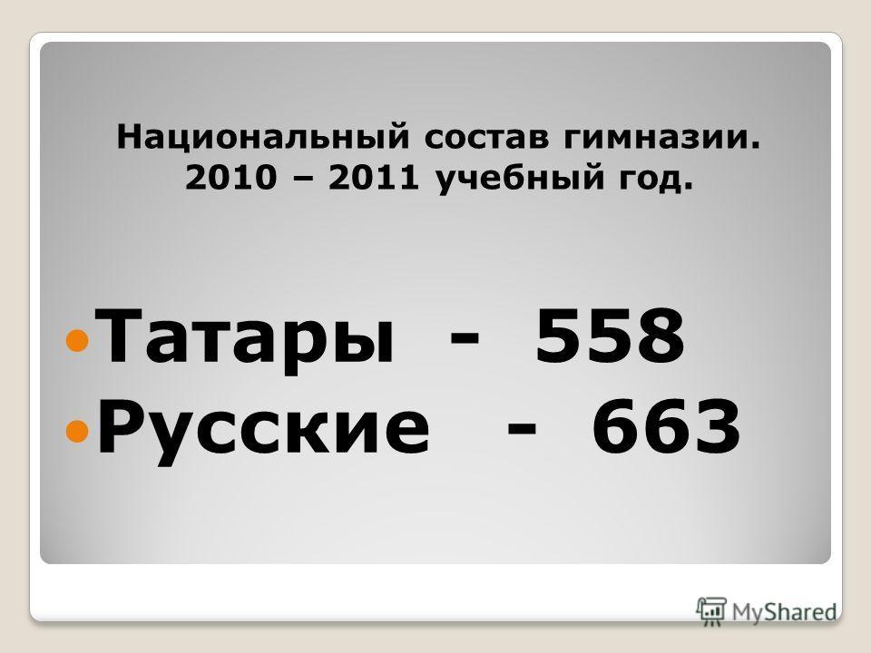 Татары - 558 Русские - 663 Национальный состав гимназии. 2010 – 2011 учебный год.