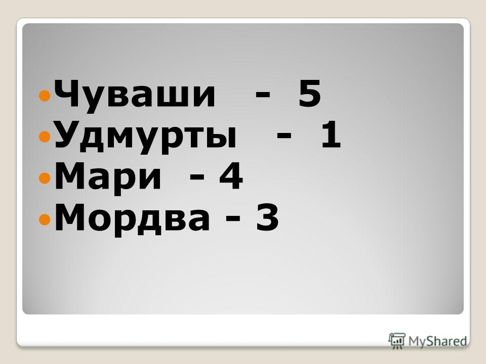 Чуваши - 5 Удмурты - 1 Мари - 4 Мордва - 3