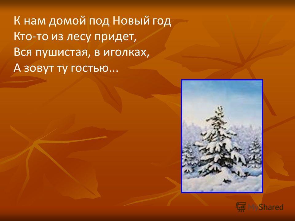 К нам домой под Новый год Кто-то из лесу придет, Вся пушистая, в иголках, А зовут ту гостью...
