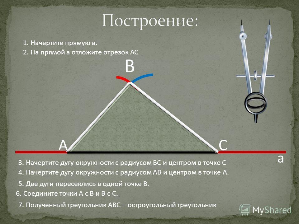 В 7. Полученный треугольник АВС – остроугольный треугольник АС 1. Начертите прямую а. 2. На прямой а отложите отрезок АС 3. Начертите дугу окружности с радиусом ВС и центром в точке С 4. Начертите дугу окружности с радиусом АВ и центром в точке А. 5.