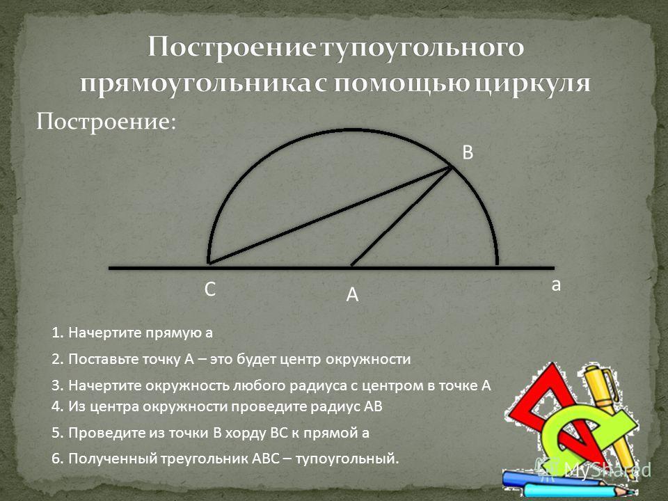 Построение: А а В С 1. Начертите прямую а 2. Поставьте точку А – это будет центр окружности 3. Начертите окружность любого радиуса с центром в точке А 4. Из центра окружности проведите радиус АВ 5. Проведите из точки В хорду ВС к прямой а 6. Полученн