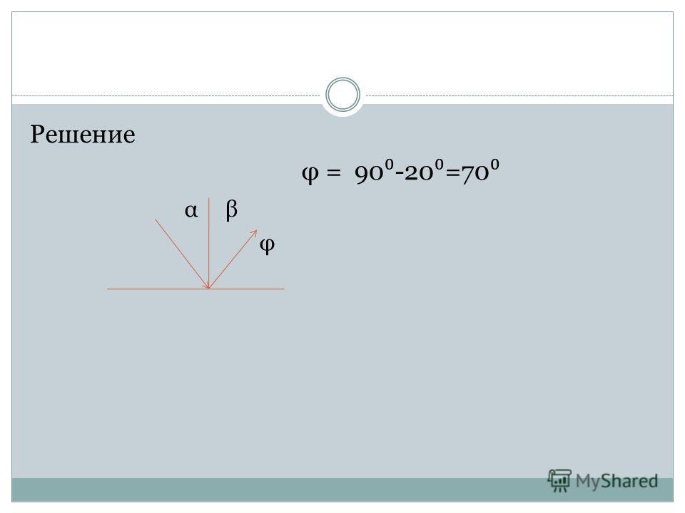 Вопрос Угол падения луча света на зеркальную поверхность равен 20. Каков угол между отраженным лучом и зеркальной поверхностью?