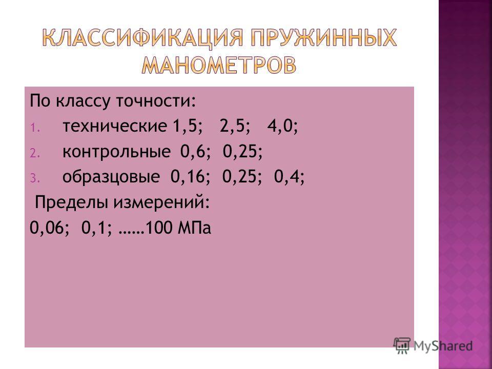 По классу точности: 1. технические 1,5; 2,5; 4,0; 2. контрольные 0,6; 0,25; 3. образцовые 0,16; 0,25; 0,4; Пределы измерений: 0,06; 0,1; ……100 МПа
