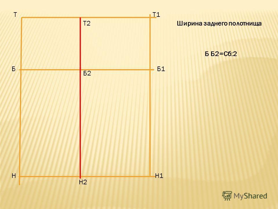 Т Б Н Т1 Б1 Н1 Т2 Б2 Н2 Б Б2=Сб:2 Ширина заднего полотнища